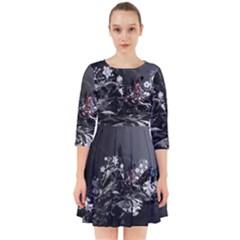Shape Pattern Light Color Line Smock Dress