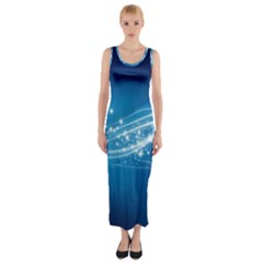 Lines Points Curves Glow  Fitted Maxi Dress