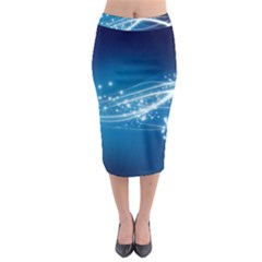 Lines Points Curves Glow  Midi Pencil Skirt
