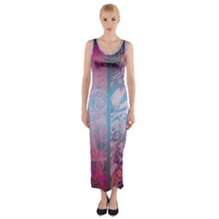 Lines Stripes Pattern Cloudy  Fitted Maxi Dress