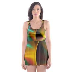 Light Color Line Smoke Skater Dress Swimsuit