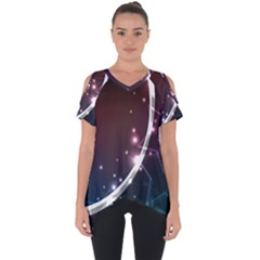 Lines Rays Glare Star Light Shadow  Cut Out Side Drop Tee