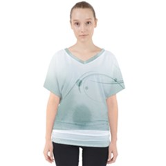 Gray Points Curves Patches Vector Minimalism  V Neck Dolman Drape Top