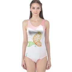 Flower Butterfly Dots Abstract Vector  One Piece Swimsuit