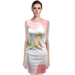 Flower Butterfly Dots Abstract Vector  Classic Sleeveless Midi Dress