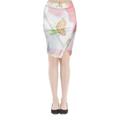Flower Butterfly Dots Abstract Vector  Midi Wrap Pencil Skirt
