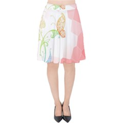 Flower Butterfly Dots Abstract Vector  Velvet High Waist Skirt