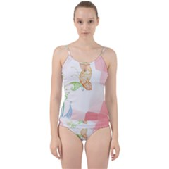 Flower Butterfly Dots Abstract Vector  Cut Out Top Tankini Set