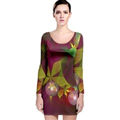 Drawing Abstract Ball Long Sleeve Velvet Bodycon Dress