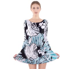 App Storm Apple Mac Devouring Vector Blue White  Long Sleeve Velvet Skater Dress