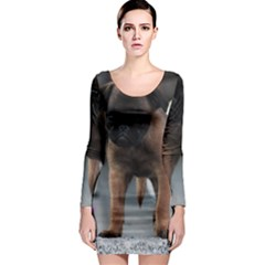Brussels Griffon Front View Long Sleeve Bodycon Dress