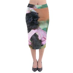 Brussels Griffon Dressed In Pink Midi Pencil Skirt