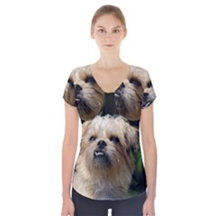 Brussels Griffon Short Sleeve Front Detail Top