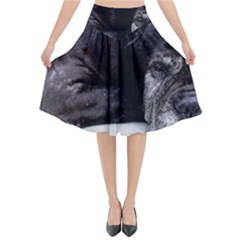 Neapolitan Mastiff Laying Flared Midi Skirt