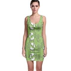 Cow Flower Pattern Wallpaper Bodycon Dress