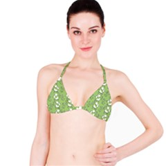 Cow Flower Pattern Wallpaper Bikini Top