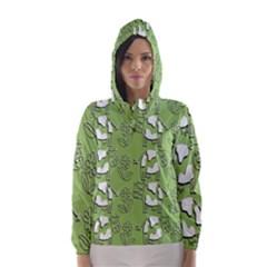 Cow Flower Pattern Wallpaper Hooded Wind Breaker (women)