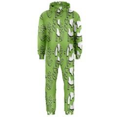 Cow Flower Pattern Wallpaper Hooded Jumpsuit (men)