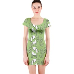 Cow Flower Pattern Wallpaper Short Sleeve Bodycon Dress