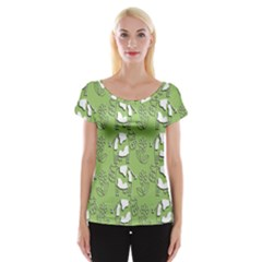 Cow Flower Pattern Wallpaper Cap Sleeve Tops