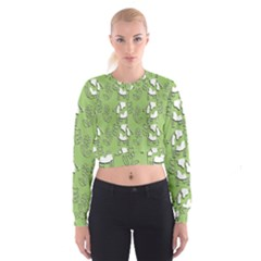 Cow Flower Pattern Wallpaper Cropped Sweatshirt