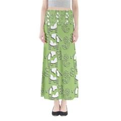 Cow Flower Pattern Wallpaper Full Length Maxi Skirt