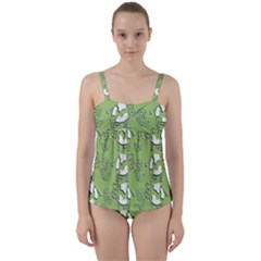 Cow Flower Pattern Wallpaper Twist Front Tankini Set
