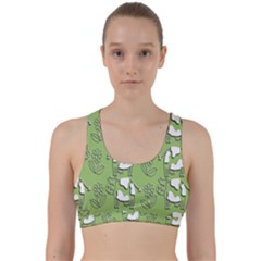 Cow Flower Pattern Wallpaper Back Weave Sports Bra