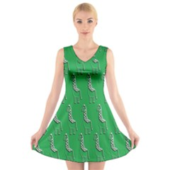 Giraffe Pattern Wallpaper Vector V Neck Sleeveless Skater Dress