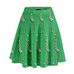 Giraffe Pattern Wallpaper Vector High Waist Skirt