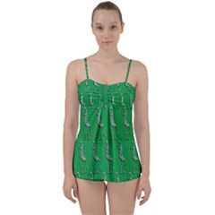 Giraffe Pattern Wallpaper Vector Babydoll Tankini Set