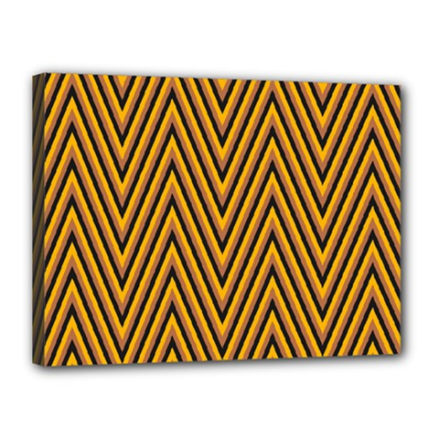 Chevron Brown Retro Vintage Canvas 16  X 12