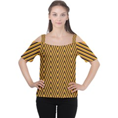 Chevron Brown Retro Vintage Cutout Shoulder Tee