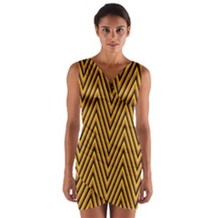 Chevron Brown Retro Vintage Wrap Front Bodycon Dress