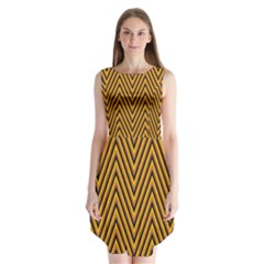 Chevron Brown Retro Vintage Sleeveless Chiffon Dress