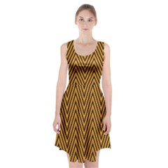 Chevron Brown Retro Vintage Racerback Midi Dress