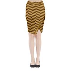 Chevron Brown Retro Vintage Midi Wrap Pencil Skirt