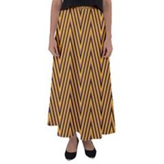Chevron Brown Retro Vintage Flared Maxi Skirt