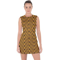 Chevron Brown Retro Vintage Lace Up Front Bodycon Dress