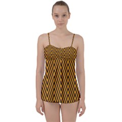 Chevron Brown Retro Vintage Babydoll Tankini Set