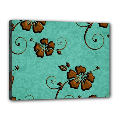 Chocolate Background Floral Pattern Canvas 16  X 12