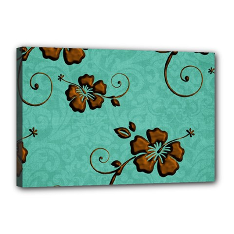 Chocolate Background Floral Pattern Canvas 18  X 12