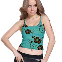 Chocolate Background Floral Pattern Spaghetti Strap Bra Top