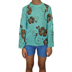 Chocolate Background Floral Pattern Kids  Long Sleeve Swimwear