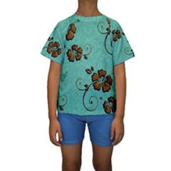 Chocolate Background Floral Pattern Kids  Short Sleeve Swimwear