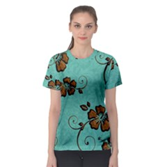 Chocolate Background Floral Pattern Women s Sport Mesh Tee