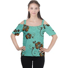 Chocolate Background Floral Pattern Cutout Shoulder Tee