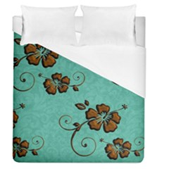 Chocolate Background Floral Pattern Duvet Cover (queen Size)