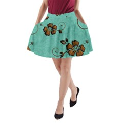 Chocolate Background Floral Pattern A Line Pocket Skirt