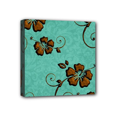 Chocolate Background Floral Pattern Mini Canvas 4  X 4